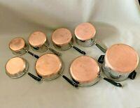 Vintage Revere Ware 8 Piece Set - Skillets Sauce Pans Stock Pot