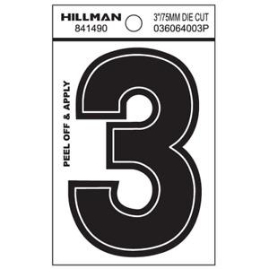Hillman 3-In Die-Cut Black Gloss Finish Wide Style Vinyl Peel-Off Letter/Numb(3)