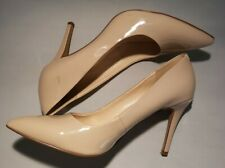 NINE WEST - Size 8 - Nude Tan Pointy Toe Patent Leather Heels Pumps 7ACT