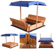 Sandkasten mit Dach verstellbar Sandkiste Spielhaus Sitzbänke Holz Abdeckung