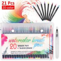 20 Colours Watercolour Brush Pens Drawing Painting Art Oil Sketch Manga Set UK