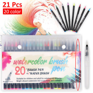 20 Colours Watercolour Brush Pens Drawing Painting Art Oil Sketch Manga Set UK
