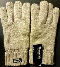 THINSULATE 40G Women's Tan Wool/Leather Knit Winter Wrist Gloves NWT (LG or XL)