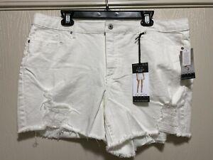 Sofia Jeans Sofia Vergara Lila Mid Rise White Shorts Distressed SIZE 20 NWT