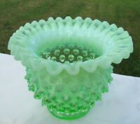 "Fenton Vintage Green Opalescent Hobnail  Crimped Vase 4""H x 5""W **It Glows**"