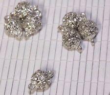 Shiny Rhodium and Clear Rhinestone 10mm Round Magnetic Clasp 4pcs Set R30