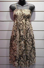 Dress Fit M L XL Black Gold Beige Paisley Lace Smocked Chest Layered Lined DC145