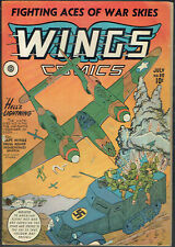 WINGS  COMICS  35  FN/6.0  - Classic Nazi WWII cover from 1943!