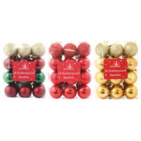 24-shatterproof Classic Christmas Baubles - Red Gold and Green Tree decorations