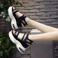 Womens Roman Sandals Shoes Peep-toe Platform Creeper Buckle High Wedge Heel Chic