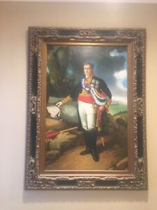 Oil on Canvas, Napoleon in uniform with map, Antique frame