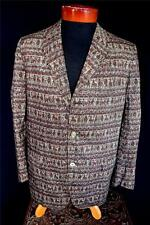 RARE VINTAGE LATE 1950'S-EARLY 1960'S DARK COTTON WARRIOR PRINT SPORTCOAT SZ 38