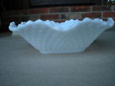 "Square 6"" White Milk Glass Bowl w Ruffled Edge Diamond Design"