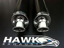 Suzuki GSX 1300 R Hayabusa Busa 2008- Pair of Black Oval Exhaust Cans, Silencers