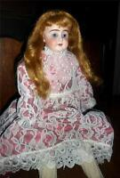 "Stunning Antique German Bisque Doll Shabby 20"" Bisque Head Doll w Cloth Body"