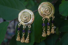 Amethyst Roman Etruscan Earrings 22Kt Gold over Sterling Silver Made in Italy