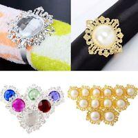12pcs Diamond Napkin Ring Serviette Holder Wedding Banquet Dinner Decor Favor
