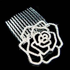 w Swarovski Crystal Cut Out Rose Flower Floral Bridal Head Piece Hair Comb Bride