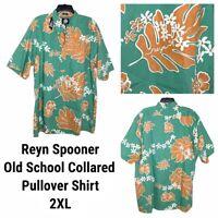 New Reyn Spooner Mens Henley Shirt XXL Classic Fit Hawaiian Reverse Print Green