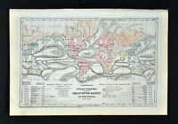 1874 Johnson Map World Ocean Currents River Basins Trade Winds Gulf Stream Tide