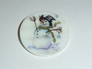 """Cute Snowman Top Hat & Scarf MOP Button on Mother of Pearl Shank Button 1-3/8"""""""