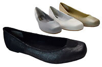 Womens Glitter Ballet Flats Comfort Shoes Black Silver Gold White