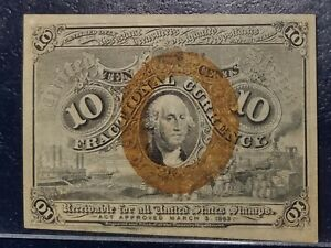10 Cent 2nd ISSUE FRACTIONAL PCGS XF45 FR.1246 SURCHARGE 18-63 S 10c second EF