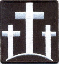 """Three 3 Cross Embroidered Patch Iron On Sew On 2.25"""" W x 2.5"""" H Biker Christian"""