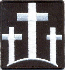 """Three Cross Embroidered Patch Iron On Sew On 3"""" x 2.75"""" Biker Military Tactical"""