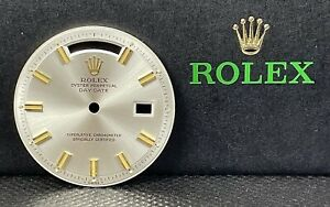 Rolex Day-Date 36mm Silver Dial Gold Stick Non Quickset Pie Pan President 1803