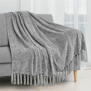 Fluffy Chenille Knitted Throw Blanket Decorative Fringe for Bed Sofa Couch Chair