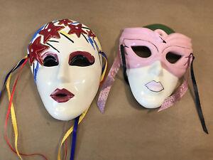 2 Vintage 1988 Clay Art Stars & FLAMINGO Masquerade Ceramic Wall Mask