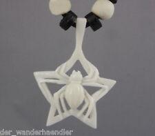 Ethno Kette Spinne Spinnennetz Anhänger aus Knochen Gothik Handarbeit S-Bal29