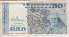 IRELAND BANKNOTE P73c-7587, 20 POUNDS PREFIX EJL 13-08-90, VERY FINE