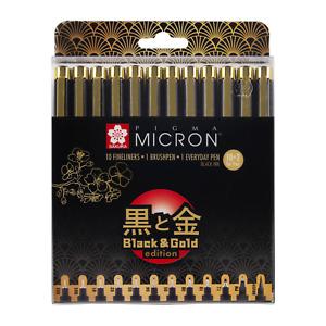 "Sakura Pigma Micron Fineliner ""Black & Gold Edition"", set of 10 + 2 Free"