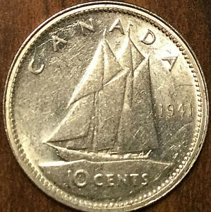 1941 CANADA SILVER 10 CENTS COIN - Choice Uncirculated with Strong luster