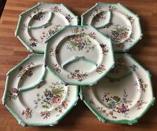 Vecchio servizio 5 piatti  - barbotine /asparagi - fiori  Longchamp