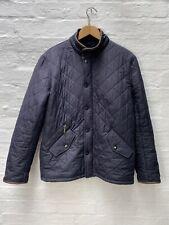 V78 Barbour Powell Quilted Blue Coat Jacket Leather Trim Mens Medium