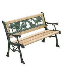 Kids Wooden Garden Bench Outdoor Seat Furniture with Metal Frame