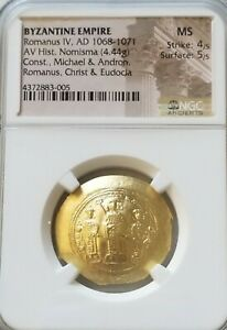 Byzantine Empire Romanus IV Histamaneon NGC MS 4/5 Ancient Gold Coin