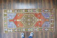 Turkish Rug,Vintage Rug Handwoven  Wool Antique Carpet 3'2x7' ft