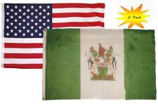 3x5 3'x5' Wholesale Set (2 Pack) Usa American & Vintage Rhodesia Flag Banner