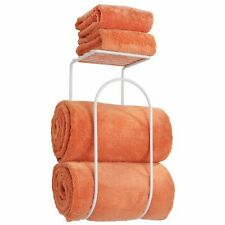 mDesign Wall Mount Towel Rack Holder Organizer with Storage Shelf - White