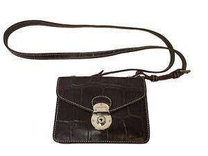 Dooney Bourke Alto Mini Flap Lock Crossbody Purse Crocodile Embossed Brown Rare