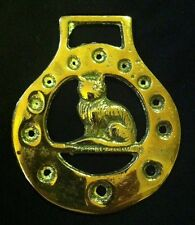 CAT PUNCHED CIRCLE FRAME Horse Harness Brass England WOW YOUR WALLS! CAT LOVER!