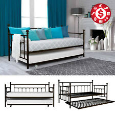Twin Size Daybed with Roll Out Trundle Metal Bed Frame Black Furniture Guest