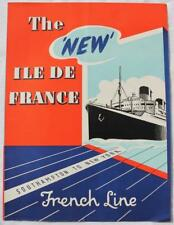 FRENCH LINE SS ILE DE FRANCE POST WAR REFURBISHMENT RARE TRAVEL AGENTS FLYER