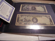 JAPANESE INVASON MONEY PHILIPPINES ONE PESO AND FIVE PESO IN DISPLAY HOLDER COA