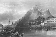 Germany KOBLENZ EHRENBREITSTEIN FORTRESS Festung RHINE, 1865 Art Print Engraving