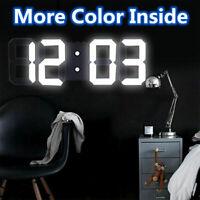 Modern Digital 3D LED Wall Clock Alarm Clock Snooze 12/24 Hour Display Bedroom